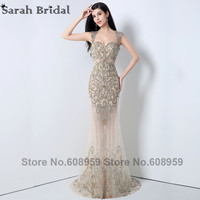In Stock Nude Open Back Beaded Mermaid Evening Dresses Tulle Sheer Long Prom Dresses Special Occasion