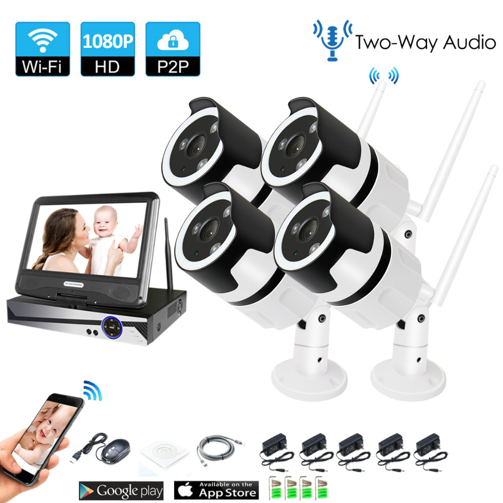 4CH two way audio talK HD Wireless LCDNVR Kit P2P 1080P Indoor Outdoor IR Night Vision