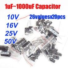 26valuesX20pcs=520pcs 10V/16V/25V/50V 1UF-1000UF  Aluminum Electrolytic Capacitor  Assortment Kit