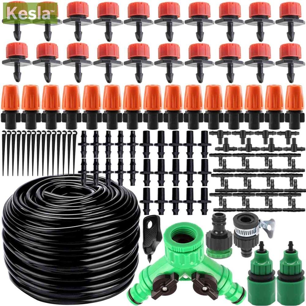 KESLA 25m Micro Drip Irrigation Watering Kits System Automatic & Adjustable Dripper Atomizer For Potted Plant Garden Greenhouses
