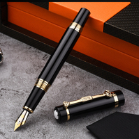 NOBLE Hero pen Classic Mont Black and Gold Clip office gift box calligraphy iridium nibs with mb stylo on cap top