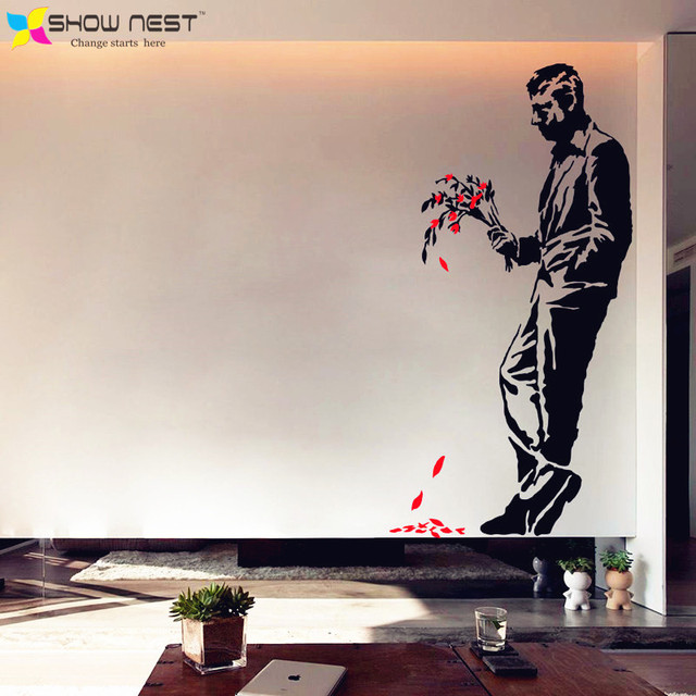 Banksy Graffiti Art Wall Decal Vinyl Sticker Men Bouquet Mural Home