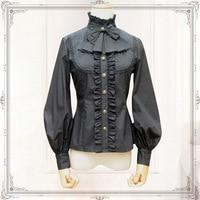 Vintage Women S Chiffon Shirt Long Lantern Sleeve Stand Collar Female Gothic Blouse Black White