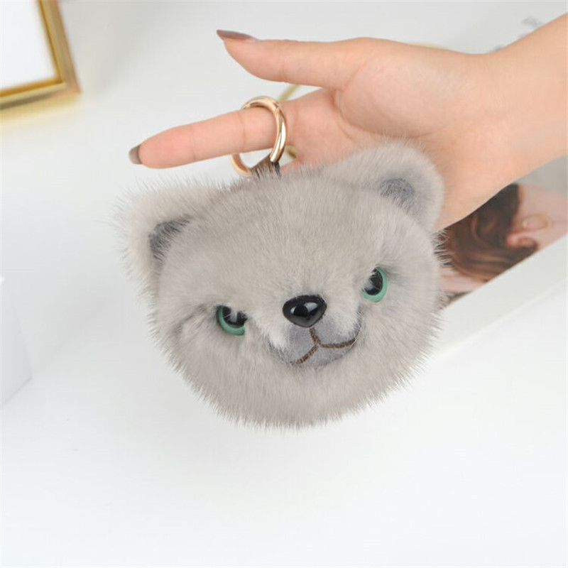 Genuine Mink Fur Panda Fashion Mink Fur Key Chain Panda Keyring Gift Bag Key Ring Charming Pendant Car Accessories Key Chains