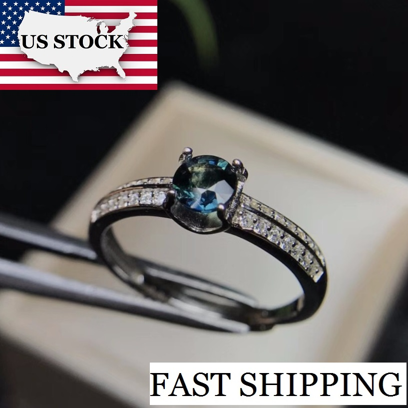 US STOCK Uloveido Sapphire Gemstone Ring 925 Sterling Silver Blue Stone Ring for Women Engagement Wedding