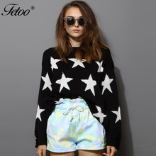 Fetoo 2017 Casual Loose Star Ripped Sweaters O Neck Long Sleeve Hole Women Sweater and Pullovers Chic Autumn Winter Tops Female