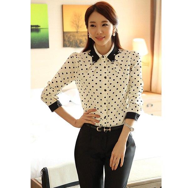 Zehui style fashion women lapel button down polka dot for Button down polka dot shirt