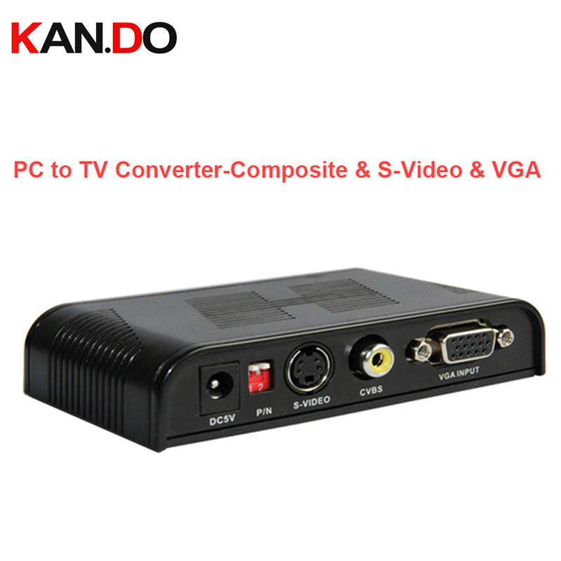 2000 PC to TV video converter,convert PC signal on TV,VGA-AV/S-Video converter PC to TV Converter-Composite&S-Video&VGA Loop pc to tv video converter adapter deep blue