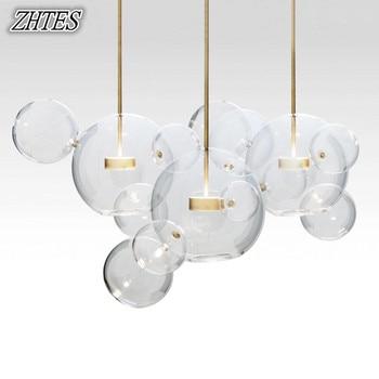 โมเดิร์น LED ฟองลูกบอลแก้วจี้แสง Minimalist ห้องนอนห้องนอนห้องรับประทานอาหารแขวนโคมไฟ