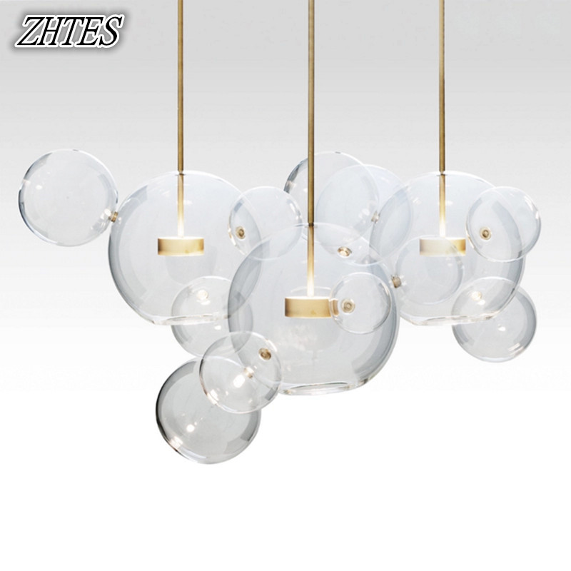 Modern LED Bubble Glass Ball Pendant Lighting Minimalist Parlor Bedroom Dining Room Hung Lamp