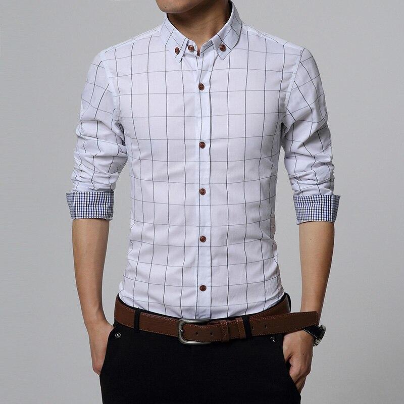 Nueva primavera otoño Slim Fit hombres camisas casuales de manga - Ropa de hombre - foto 5