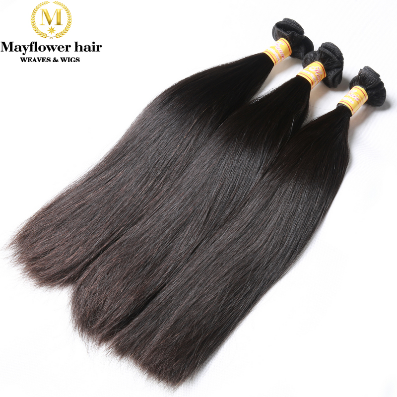 Mayflower Funmi Straight Hair 1/2/3/4 Bundles Double Drawn Remy Hair Weave No Short Hair Natural Black 8