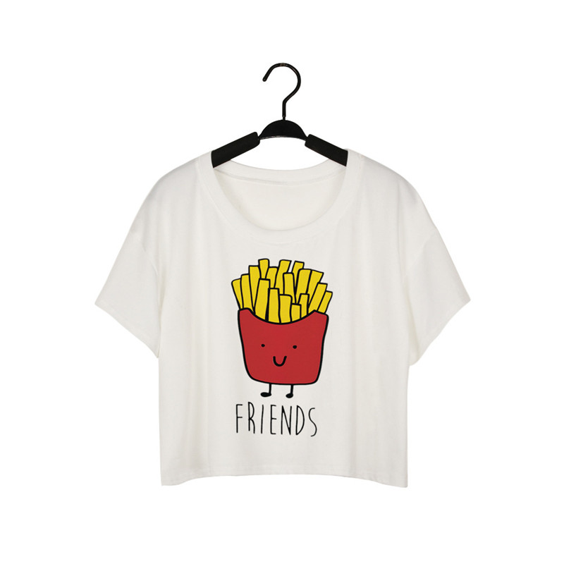 Hot Summer French Fries Hamburger Best Friends T Shirts O Neck Short Sleeve Tops Vest Tees in T Shirts from Women 39 s Clothing