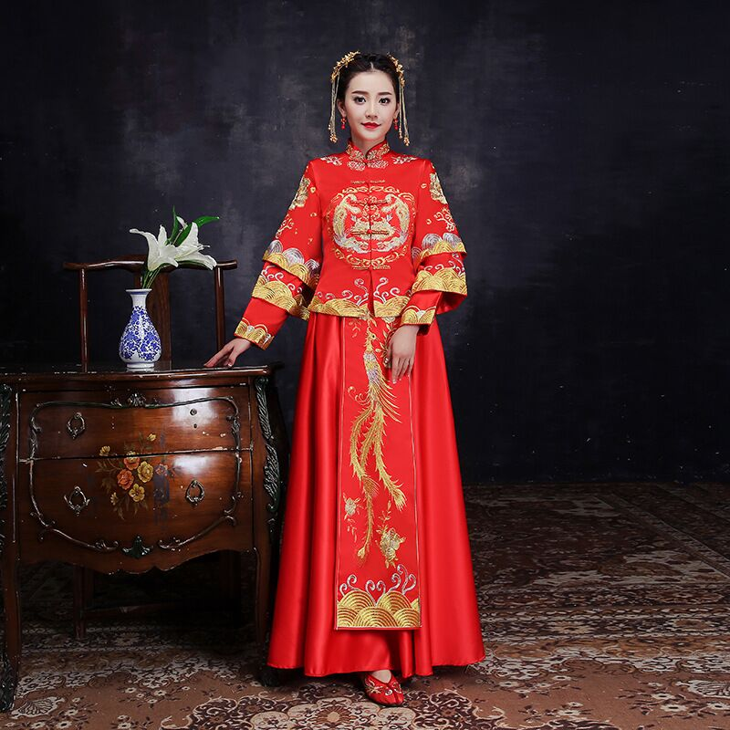 Bride Fall Clothes Vintage Chinese Style Wedding Dress Retro Toast Clothing Embroidery Phoenix Gown Marriage Cheongsam Qipao Red