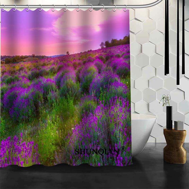 Custom Lavender flower Shower Curtain High Quality bathroom ...