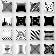 Black And White Geometric Abstract Decorative Pillowcases Polyester Throw Pillow Case Striped Pillowcase Kussensloop