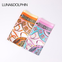Luna&Dolphin Women Square Scarf 50*50cm Real Silk Scarves Mulberry Silk Ribbon Wallet Belt Print Neckchief Headbands Lady Scarf