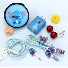 Cartoon USB Cable Earphone Protector Set With Box Cable Winder Stickers Spiral Cord Protector For Huawei glory 7/glory 8/Mate 8 sam sisavath glory box