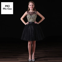 Wholesale New Sheer Neck V Back Gold Lace Appliques Navy Blue Tulle Short Homecoming Dresses 2016
