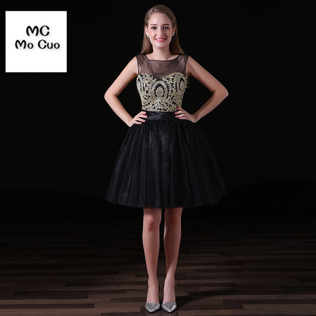 26a3406b3ccc Wholesale New Sheer Neck V Back Gold Lace Appliques Black Tulle Short  Homecoming Dresses 2017 Formal Party Prom Dress