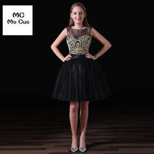 ac8bf600c1b Wholesale New Sheer Neck V Back Gold Lace Appliques Black Tulle Short  Homecoming Dresses 2017 Formal