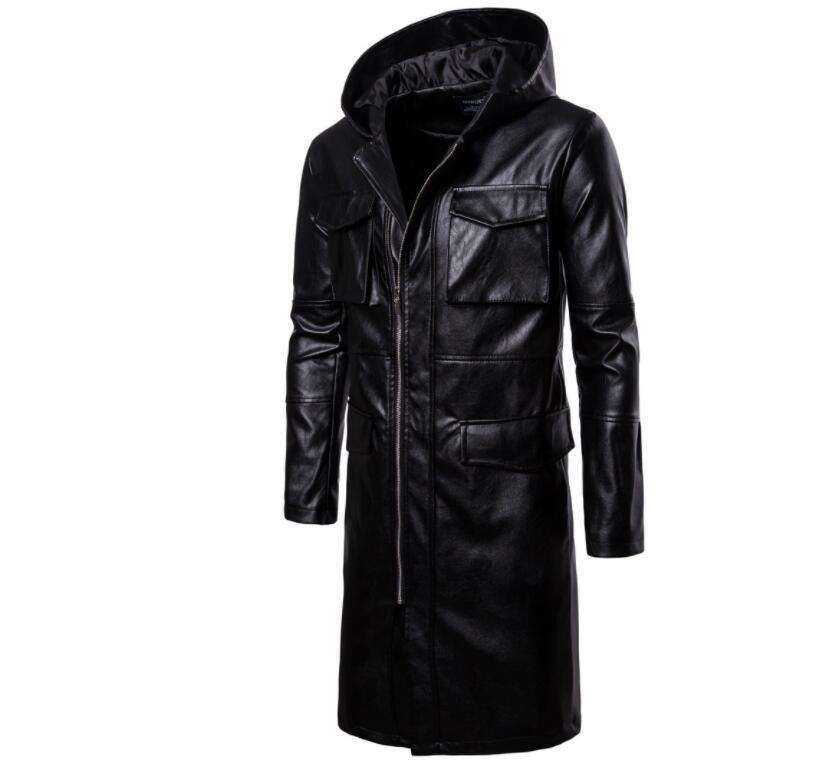 Mens giacca di pelle del motociclo sottile lungo cappotto di pelle giacche da uomo vestiti di strada personalizzato nero di modo di autunno inverno