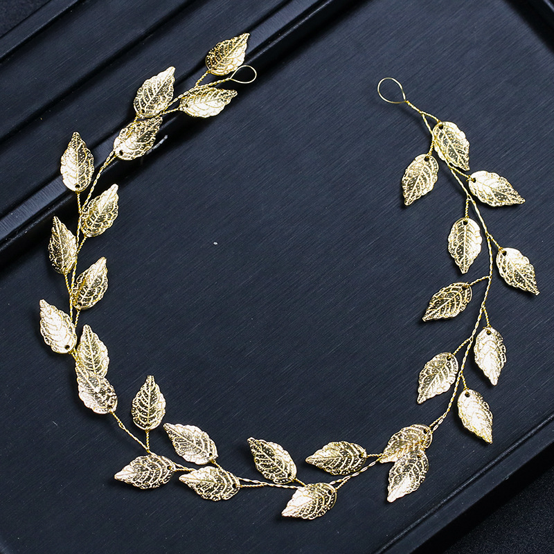 KMVEXO Fashion Gold Silver Hairbands Bride Leaf Headbands Charm Tiaras Leaves Wedding Hair Accessories Women Hair Jewelry