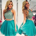 Hunter Short Two Piece Homecoming Dress 2017 Sexy 8th Grade Prom Dresses A Line Crystals Ruffles Mini Graduation Party Gowns