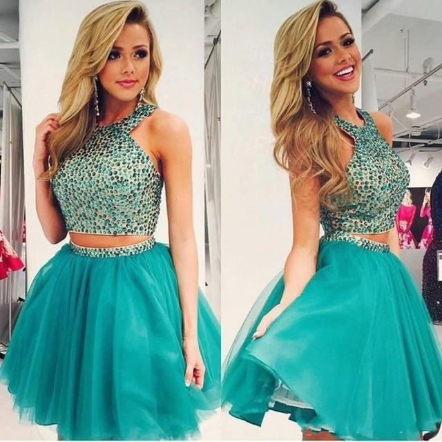 99be680c6a384 Hunter Short Two Piece Homecoming Dress 2017 Sexy 8th Grade Prom Dresses A  Line Crystals Ruffles Mini Graduation Party Gowns-in Homecoming Dresses ...