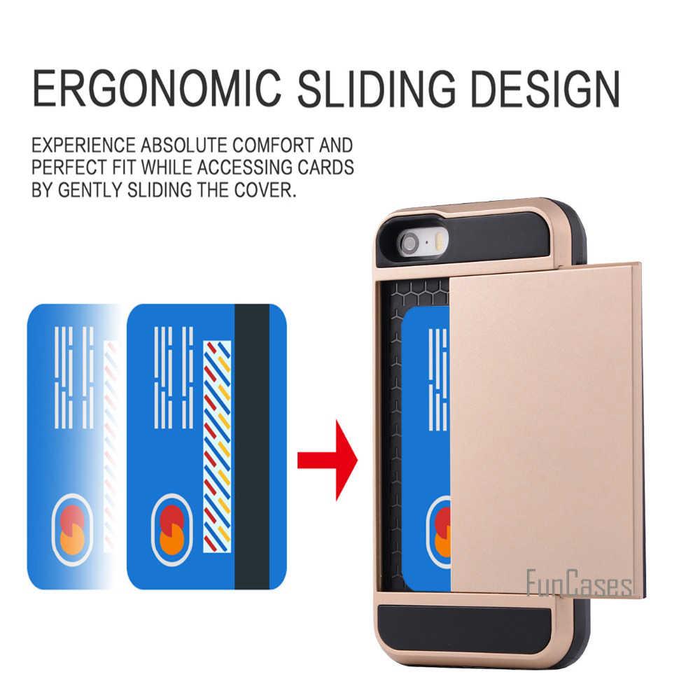 ل أبل فون 5 ثانية 5 SE حالة الهجين درع يستعصي PC + TPU 2 في 1 بطاقة المنزلق مع بطاقة غطاء التخزين خزائن هاتف آيفون 5 5 ثانية SE