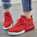17 Women Casual Shoes Increase height 5cm Fashion Breathable Air Mesh Woolen Yarn Knit Luxury Sport shoes Genuine Leather Lining