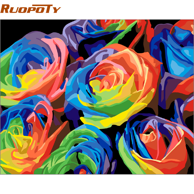 RUOPOTY Frame Colorful Flower Diy Painting By Numbers Handpainted Abstract Wall Art Picture Canvas Painting For Wedding Decor