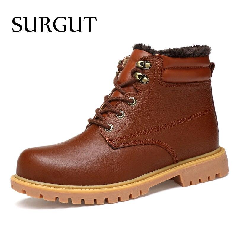 SURGUT męskie buty wysokiej jakości wodoodporne obuwie nowy jesień zima kostki buty dla mężczyzn moda buty ocieplane duży rozmiar 36 ~ 48 w Buty śnieżne od Buty na  Grupa 1