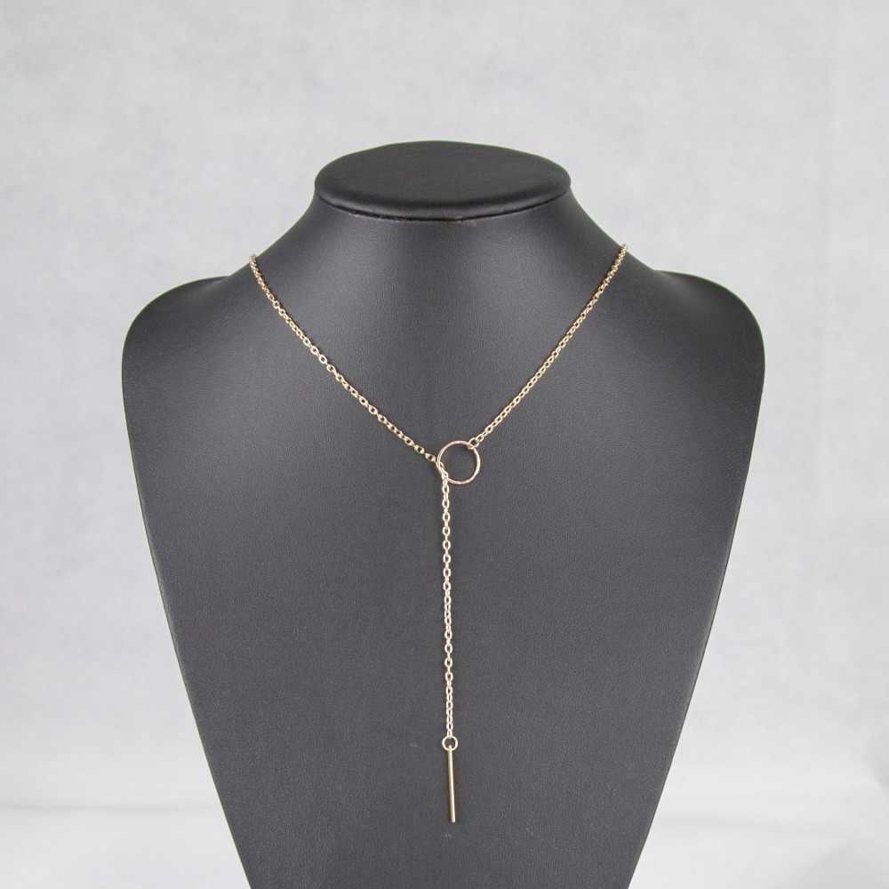 موضة بسيطة طويلة عصا قلادة القلائد المعادن النساء مجوهرات المختنق الذهب الفضة نجمة قلادة على الرقبة الأولي سلسلة