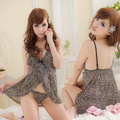 Free shipping Adult lingerie sexy leopard print gauze open front sleepwear spaghetti strap female nightgown