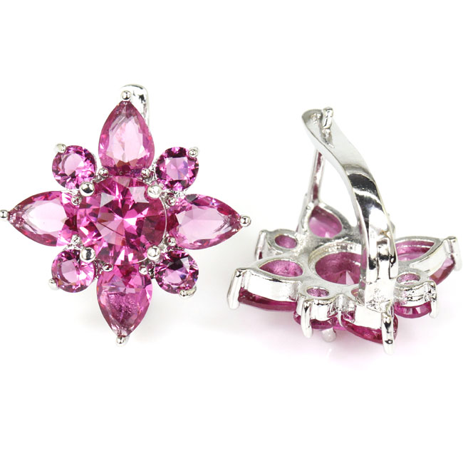 Deluxe Flower Shape Pink Tourmaline Woman's Silver Earrings 22x22mm