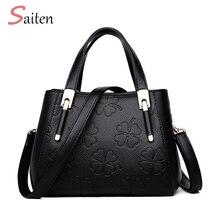 Leather Handbag Women Casual Tote Bag High Quality Female Medium Capacity Elegant flower pattern Shoulder For