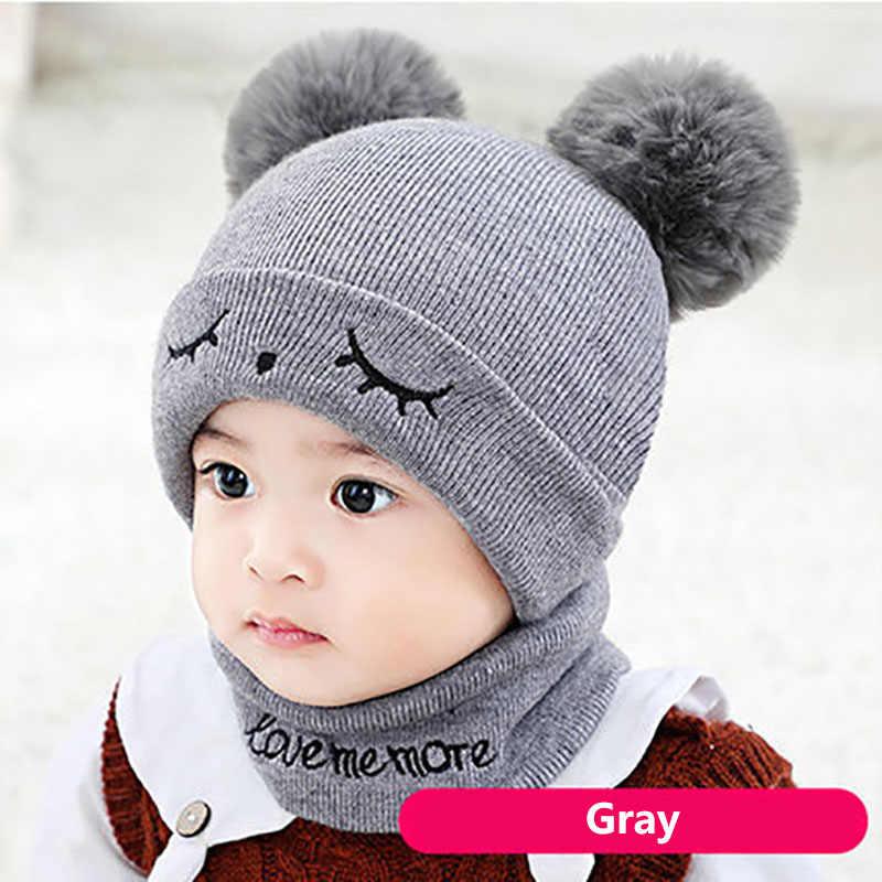 2 ชิ้น/เซ็ตอบอุ่นถักหมวกเด็กฤดูหนาวผ้าพันคอน่ารัก PomPom เด็กแรกเกิด Bonnet เด็กทารกหมวกหมวกเด็กเด็ก