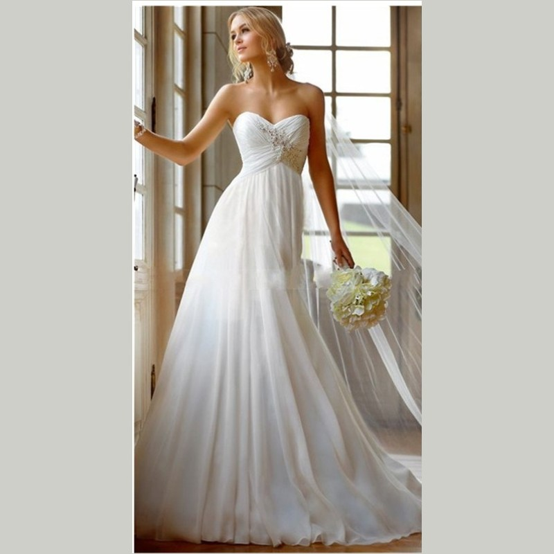 Sell Your Wedding Gown: 2015 Hot Selling Chiffon Lace Applique Beading Beach