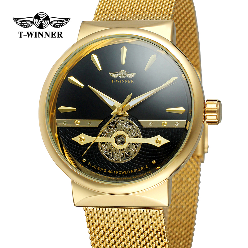 Winner Black Mesh Band Stainless Steel Golden Gear Movement Mens Transparent Case Mens Skeleton Wrist Watches Top Brand LuxuryWinner Black Mesh Band Stainless Steel Golden Gear Movement Mens Transparent Case Mens Skeleton Wrist Watches Top Brand Luxury