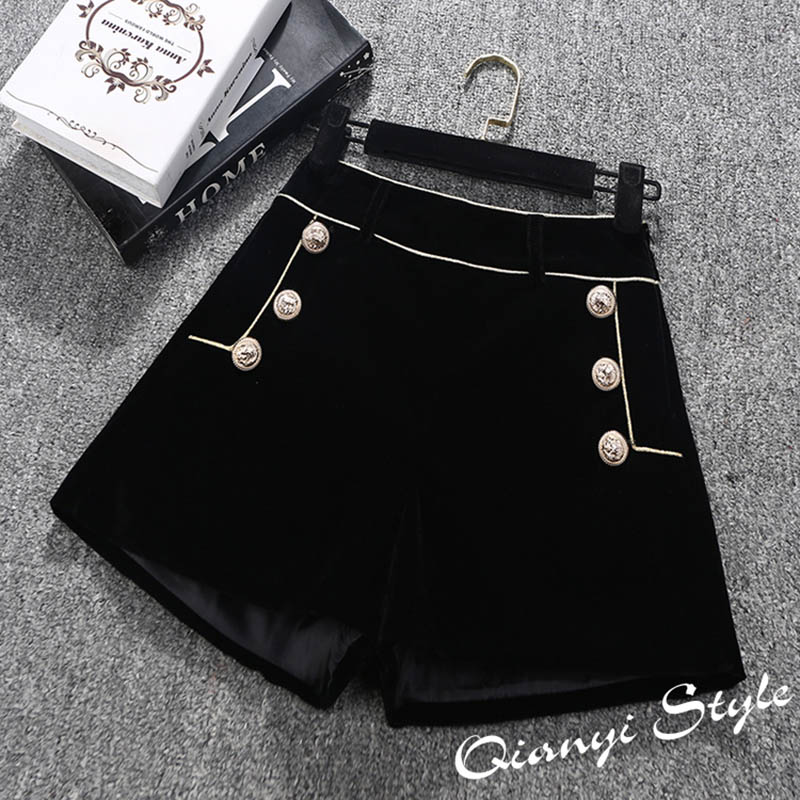 High Quality Autumn Winter Velvet Shorts Women Elegant High Waist Wide Leg Short Pants Ladies Office Work Boots Shorts Button