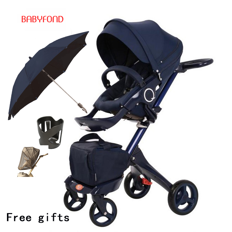 Free ship! original Luxury Baby Stroller High Landscape Portable Baby Carriages Folding Prams For Newborns Travel System 2 in 1 super light luxury baby stroller high landscape folding baby car shockproof portable prams and pushchairs for newborns 4 2kg