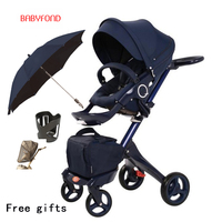 Free ship! original Luxury Baby Stroller High Landscape Portable Baby Carriages Folding Prams For Newborns Travel System 2 in 1
