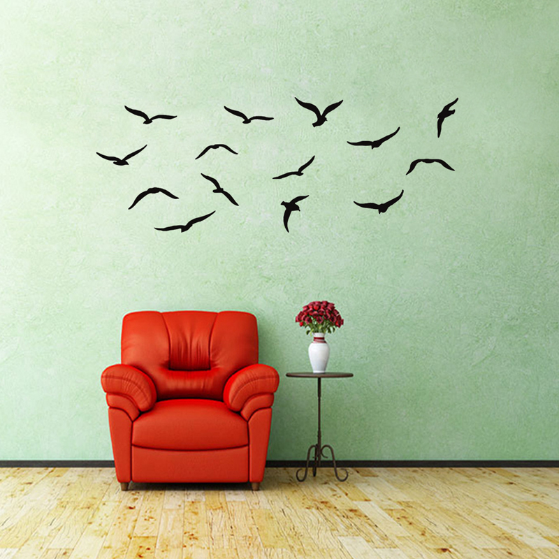 Creative Seabird Wall Sticker For Home Decor Living Room Wall Decorative Decals PVC Waterproof Simple Style Combination Stickers