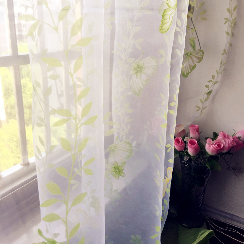 free shipping printed floral design custom made rustic sheer curtains for bedroom window cartoon pink flowers - Window Sheers