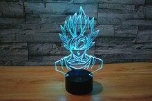 Светодиодные Игрушки Драконий Жемчуг: Рисунок 3D Настольная Лампа Фигурки Dragon Ball Z Фигурки Черный Гоку Dbz Игрушки