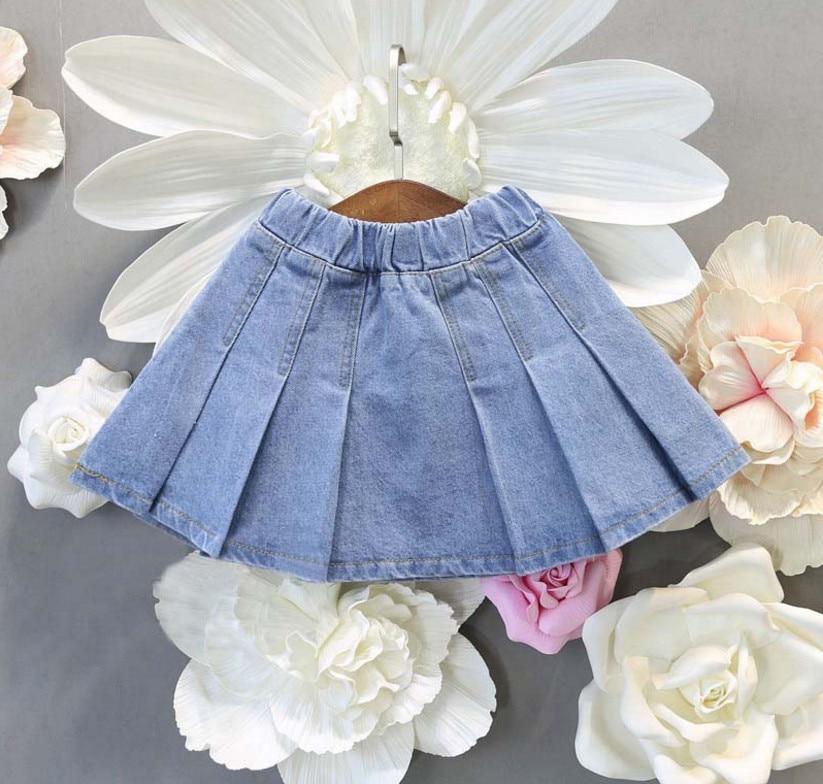 Симпатичные для маленьких девочек Повседневное Джинсовые юбки модные мини плиссированная юбка Универсальная джинсовая юбка летняя одежда...