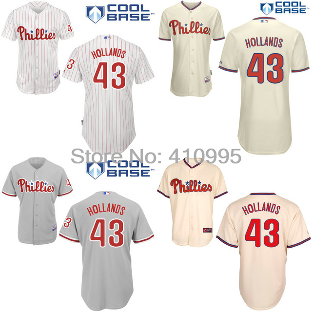3ab3b579 Philadelphia Phillies 43 Mario Hollands Custom Baseball Alternate Home Road  Cooperstown BP Jersey Cheap Free Shipping