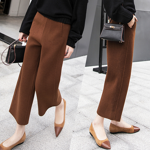 Wool Trousers Woman Autumn And Winter 2018 American Style Brief   Pants   Women Fashion High Waist   Wide     Leg     Pants