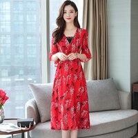 Female Summer Dress 2019 Korean Women Half Sleeve Floral Print Long Chiffon Dresses